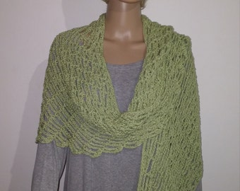 Crochet long cotton scarf in a bright green