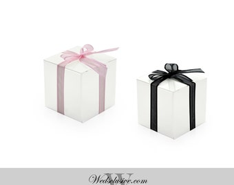 50 White Favor Boxes, DIY Wedding Favors, Truffle and Candy Boxes