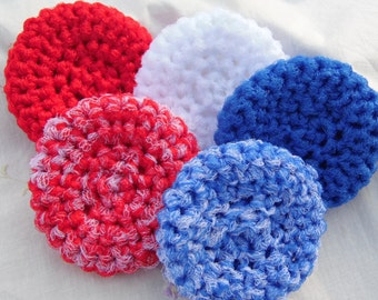 Nylon Scrubby Set, Kitchen Scrubbies, Scrub Pads, Handmade Nylon Scrubbies, Set of 5 Scrub Pads, Red, White and Blue Scrubbies, Cleaning