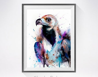 Cinereous Vulture watercolor painting print,  Vulture art, animal watercolor, animal illustration, Aegypius monachus, bird art,