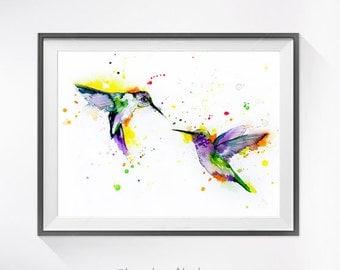 Hummingbirds Love watercolor painting print, Hummingbird art,bird watercolor, animal illustration,Hummingbird illustration, bird art,