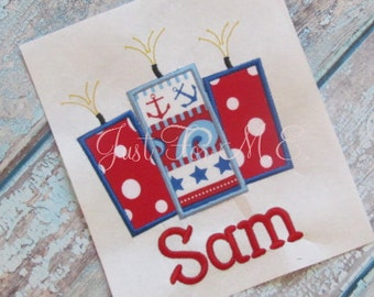 Personalized Girls or Boys Firework Applique Shirt or Bodysuit- 4th of July Applique-Memorial Day Applique-FREE MONOGRAM