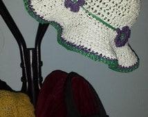 Hand-crocheted White, Green, Purple Straw Sun Bonnet with Flower Detail