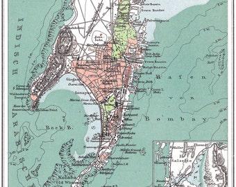 Antique Bombay map print. Mumbai map print. India map poster. Mumbai poster. Bombay poster. Maharashtra map.