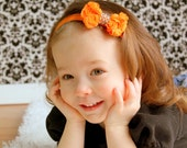 Orange Rosette Bow Rose Bow Chiffon Headband Elastic Baby Girl Photo Prop Rhinestone Bling