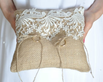 "Burlap Ring bearer pillow Burlap Bearer cushion White or Ivory lace Ring Cushion Woodland / Rustic / Cottage style Weddings 6.5"" x 6.5"""