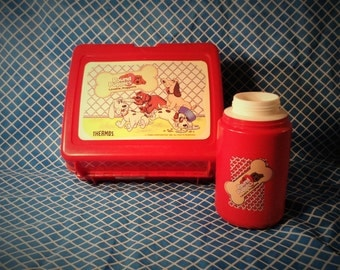 Vintage Pound Puppy Lunchbox with Thermos (No Lid) - Retro Children's, Kids School Accessory - 1986 Tonka Corp. - Cartoon Storage