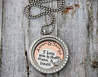I Love You to the Moon and Back Locket - Floating Charm Locket - Glass Memory Locket