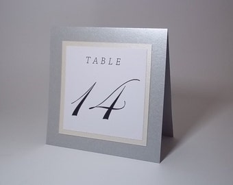 Shimmer Silver, Ivory and White Tent Table Number Cards - 5x5 size - Wedding - Dinner - Party