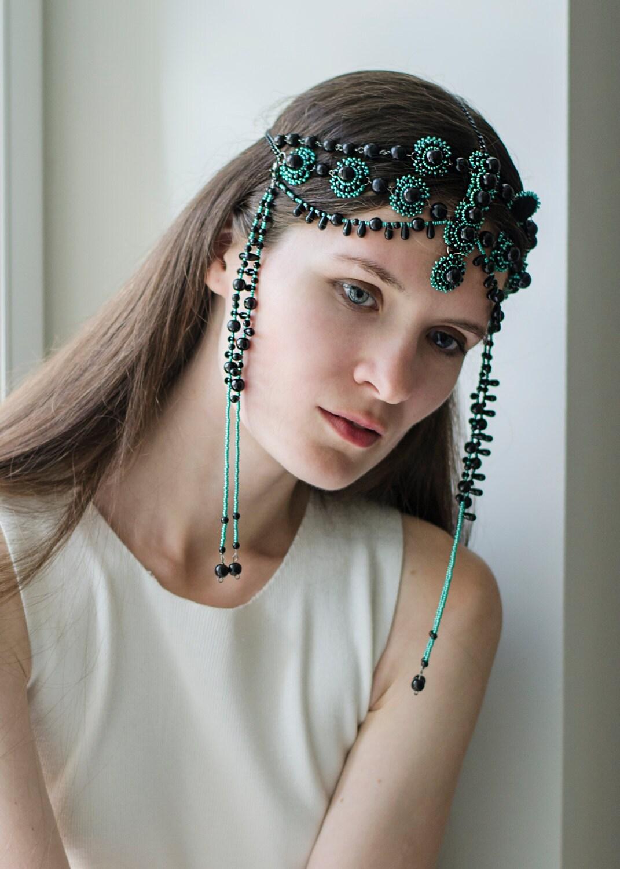 Black Head jewelry/ beaded head piece/ black and green