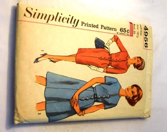 Vintage 1960s Simplicity 4956 scalloped button front half size dress with slim or full skirt sewing pattern