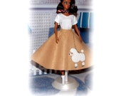 1950'S Fun!  Barbie Inspired Clothes. 5 Pc. Tan Sock Hop Poodle Skirt Outfit. Skirt, Shirt, Scarf & 1 Pair of Bobby Socks. Fits all Barbies