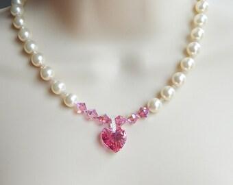 Pearl Bridal Necklace,Pearl Bridesmaid Necklace,Wedding Jewelry,Bridesmaid Gift,Bridal Necklace Pearl,Bridesmaid Necklace Gift,Prom Jewelry