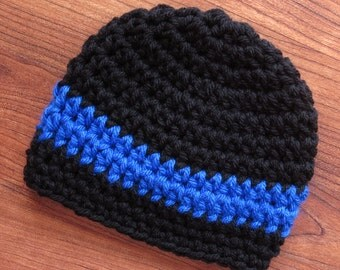 Crocheted Baby Boy Hat ~ Crocheted Baby Beanie ~ Black & Royal Blue ~ Baby Shower Gift ~ Photo Prop ~ Newborn to 5T ~ MADE to ORDER