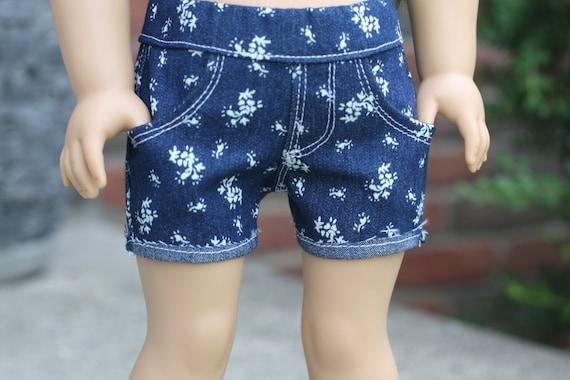 Floral Print Blue Denim SHORTS for 18 Inch American Girl Doll