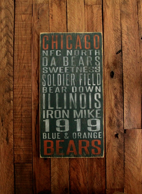 Chicago Bears Football Distressed Wood Sign--Great Father's Day Gift!
