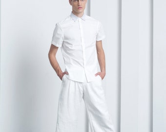 Mens shorts Mens white shorts Bermuda shorts Mens 3/4 shorts Mens tailored shorts Wool shorts Mens long shorts Japanese shorts pleated