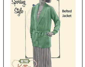 1920s Cardigan Knitting Pattern – PDF Knitting Pattern - PDF Instant Download