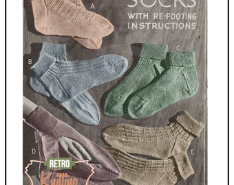 1940s Sock Vintage Knitting Pattern - PDF Knitting Pattern - Instant Download