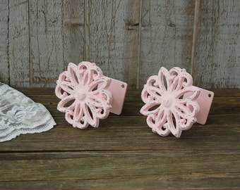Drapery Tie Backs, Shabby Chic, Pink, Curtain Tie Backs, Tiebacks, Drapery Holders, Hand Painted, Distressed, Cast Iron, Metal