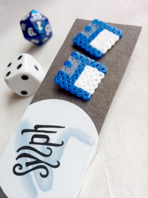 Blue Geek IT floppy disk shaped stud earrings for geeks and gamer girls with retro style made out of Hama Mini Perler beads