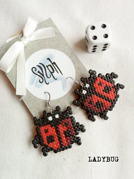 Black and red pixelart Ladybug earrings made of Hama Mini Perler Beads in 8bit retro gamer style