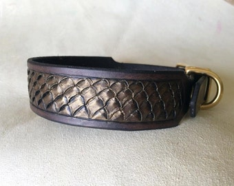 Leather Dog Collar Dragon Scale