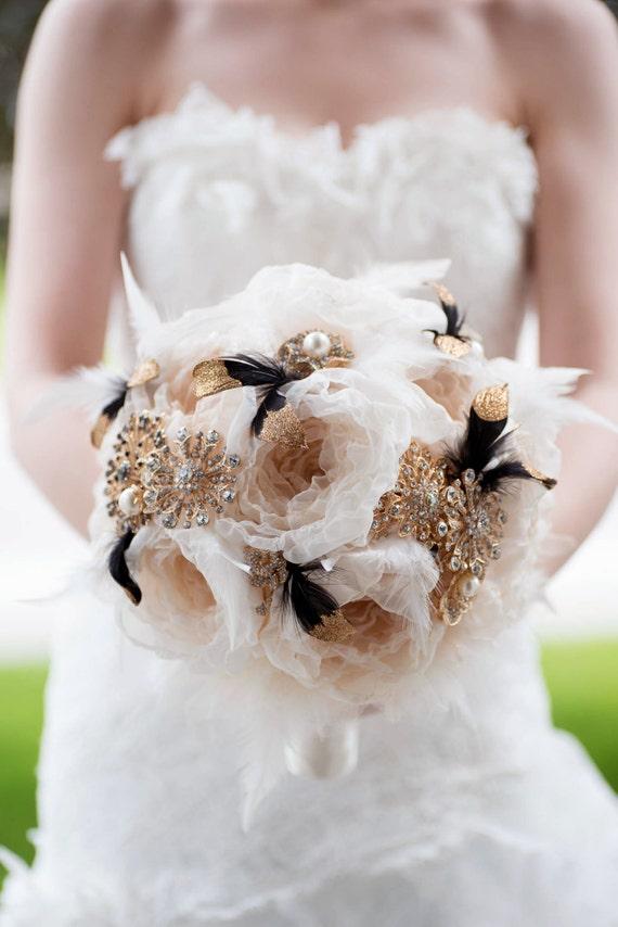 Custom Black Gold Brooch Bouquet Fabric Flower By Mlleartsy