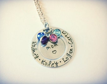 Mothers jewelry -  Personalized CUSTOM  name Hand Stamped  pendant necklace with Swarovski Birthstones and tree charm - Mothers necklace - f