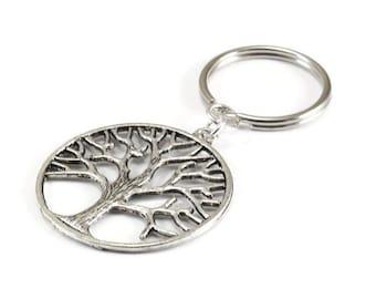 Tree of Life Key Chain Silver Metal Keyring