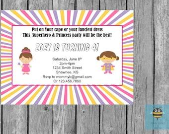 Editable Superhero/Princess Birthday Party Invitation