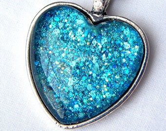 Blue Glass Heart Pendant Necklace; Handmade Nail Polish Jewelry; Glitter Glass Pendant; Aqua Blue Necklace; Hand Painted Glass Jewelry