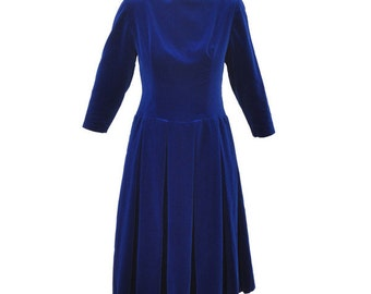 1960s royal blue velvet vintage long sleeve evening dress
