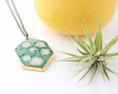 Geometric Necklace, Ceramic Necklace, Gifts for Her, Gifts under 50, Gold Necklace, Gold Jewelry, Gifts for Women, Green Necklace