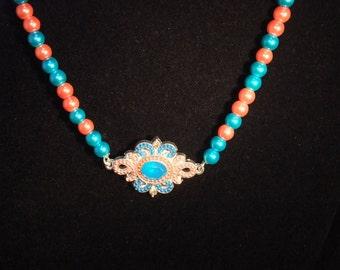 Orange & Turquoise Jeweled Pearl Necklace