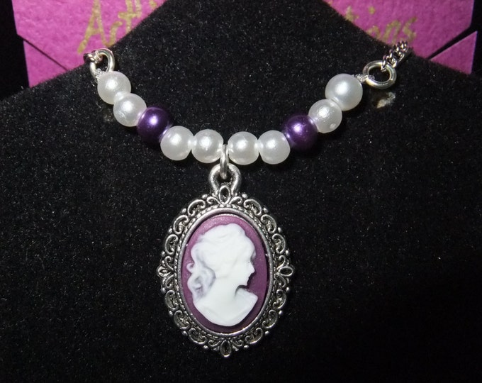 Featured listing image: Purple & White Cameo Necklace