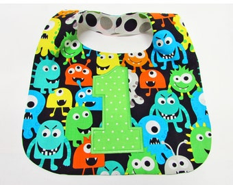 First Birthday Bib Cake Smash bib Baby Boy Bib Little Monsters Bib 1st Birthday Photo Bib
