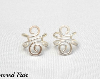 Silver Ear Cuff Pair, No Piercing Wire Jewelry, Handmade Non-Pierced Ear Wrap, Anti-Tarnish Wire
