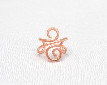 Copper Ear Cuff, No Piercing Wire Jewelry, Handmade Non-Pierced Ear Wrap