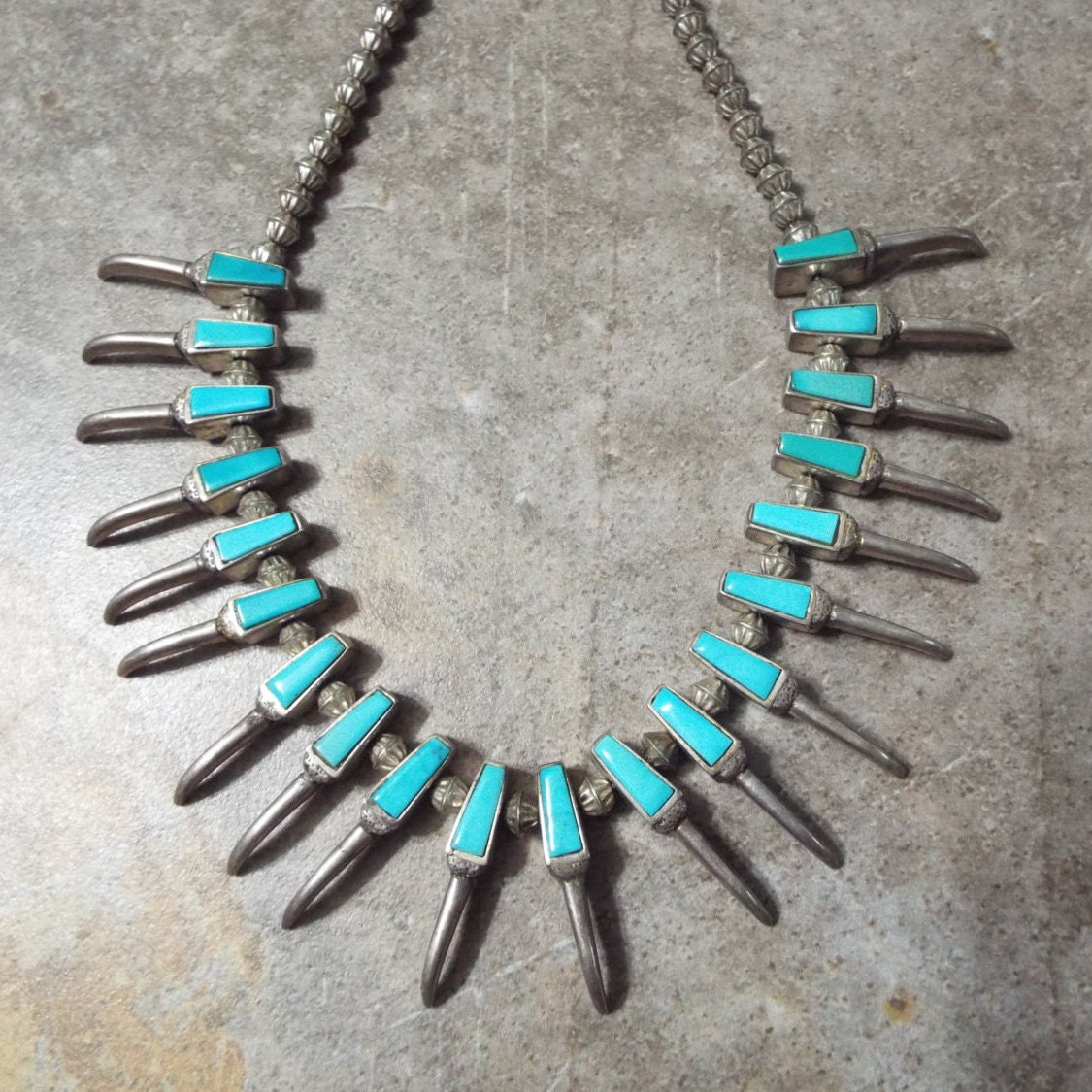 Turquoise Bear Claw Navajo Silver Necklace Old Pawn Native