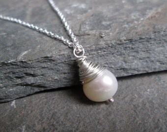 Bridal Pearl Pendant - Bridal Jewellery, Bridal Necklace, Pearl Pendant, Bridesmaid Gift, Wedding, Wire Wrapped
