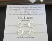 Set of 2-Partners in crime necklace,Handcuff necklace, Best friend gift,BFF,with Friendship Quote,best friend,Long Distance Friend