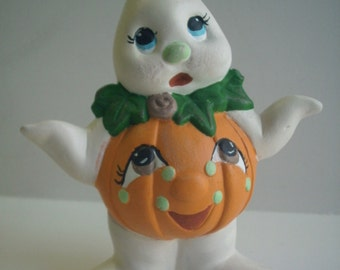 Ghost Ceramic figurine Halloween decoration Pumpkin Costume Whimsical child gift