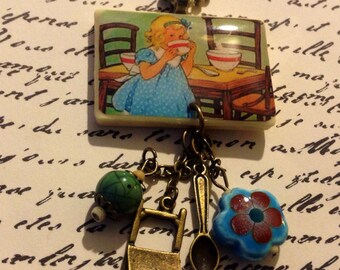 Goldilocks and the Three Bears Necklace - Retro Vintage - Folk Tale Jewelry - School - Librarian Preschool Elementary Teacher Gift Present