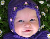 Lilac lace baby hat pink roses bonnet baby girl merino wool hat for spring MADE TO ORDER