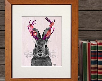 Jackalope with Pink Antlers  Art Print Digital Art Illustration Wall Decor Wall hanging home decor Animal Painting Jackalope print