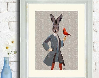 Rabbit and Bird - rabbit print Cute animal art for kids rooms woodland illustration Nursery Art for Kids Room Decor birthday gift for wife