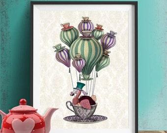 Dodo Bird poster - Dodo Balloon, Hot Air Balloon  - alice in wonderland art alice in wonderland print alice in wonderland decoration