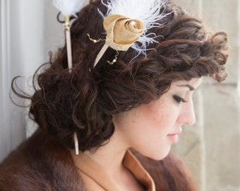 Gold and Ivory Feathered Hair Sticks, hair chopsticks, hair accessories, wedding hair accessories