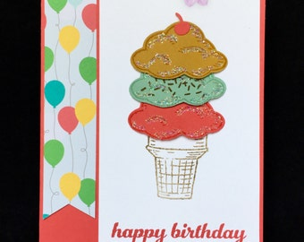 Ice Cream Birthday card.